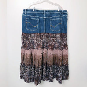 Faded Glory Skirts - Denim & Cotton Paisley Skirt 22W
